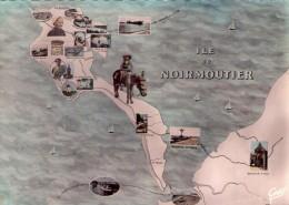 Ile De Noirmoutier.. Carte Géographique De L'Ile.. âne - Ile De Noirmoutier