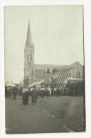 Carte Photo Thulin Eglise Fête Animée Thulin 1922 (Hensies Hainin) - Hensies