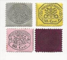 4 Timbres Etat De L'Eglise Neufs  1852/68 Armoiries Pontificales Noires Sur Couleur - Vatican