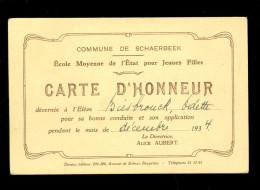 Carte D´ Honneur   Eerekaart   Biesbrouck Schaerbeek Schaarbeek 1934 - Charleroi - Escuelas