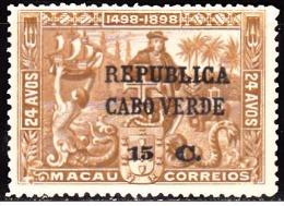 CABO VERDE - 1913,  4º  Centenário Descobtº Caminho Marítimo P/  Índia,  15 C. S/ 24 A.  * * MNH    Afinsa Nº 128 - Cape Verde