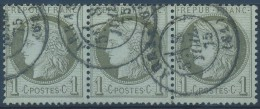N° 50, 1c Vert-olive En Bande De 3 Horizontal Obl DC 'Arras' - 1871-1875 Ceres