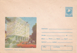 470A CLUJ-NAPOCA PALACE TELEPHONE,CARS, COVER STATIONERY, 1987, UNUSED ROMANIA - Ganzsachen