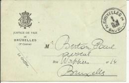 Franchise De Port - Portvrijdom   Ministère De La Justice, Justice De Paix 3° Canton  BXL  1938 - Postmark Collection