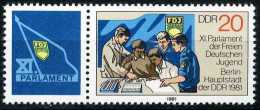 A07-42-8) DDR - Michel Zf / 2610 = WZd 495 ** Postfrisch - FDJ XI. Parlament - [6] Democratic Republic