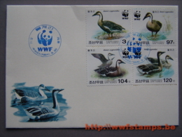 50% DISCOUNT WWF - KOREA NORTH - 2004 - Local FDC - 4 Stamps On 1 FDC  - Design Of 2 Goose - 2 Blue 50% DISCOUNT WWF ... - Ohne Zuordnung