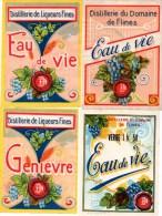 Lot De 4 étiquettes Anciennes : Eau De Vie (3) Et Genièvre (1) De La Distillerie Du Domaine De Flines. R.C De Tournai. - Etiquettes