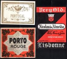 Lot De 3 étiquettes De Porto : Porto Rouge, Nicolau De Almeida, Vila Nova De Gaia, Portugal. R.C De Tournai. - Andere