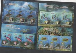 MARINE LIFE  ,2014, MNH,  FISH, SHELLS, TURTLES- SHARKS IN MARGIN, 4 SHEETLETS OF 3v EACH, IMPERFORATE - Vissen