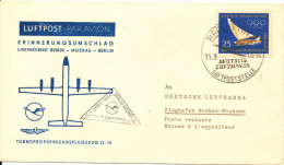 Germany DDR First flight Lufthansa cover Berlin - Moscow 31-3-1960