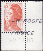FRANCE 1981 -   Y&T 2182   - Liberté  30c - Angle Daté Du 2-12-81 - France