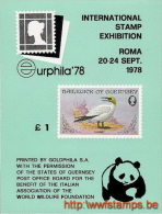 """50% DISCOUNT WWF - GUERNSEY - 1978 - Miniature Sheet - Miniature Sheet : Bloc For Eurphila Roma : 1£"" - Ohne Zuordnung"