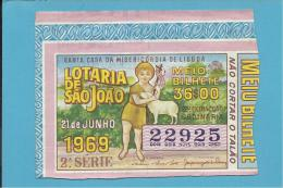 LOTARIA De SÃO JOÃO - 22.ª ORDINÁRIA - 21.06.1969 - MEIO BILHETE - Portugal - 2 Scans E Description - Lottery Tickets
