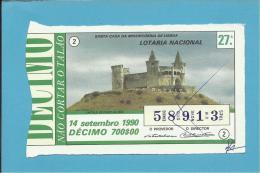 LOTARIA NACIONAL - 27.ª ORD. - 14.09.1990 - PORTO DE MÓS - CASTELO - Portugal - 2 Scans E Description - Billets De Loterie