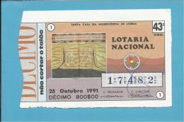 LOTARIA NACIONAL - 43ª ORD. - 25.10.1991 - SÃO THOMÉ - DESCOBRIMENTOS - MONARQUIA - Portugal - 2 Scans E Descriptio - Lottery Tickets