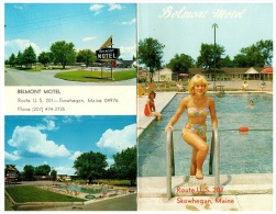 8871 ME Skowhegan    Belmont Motel , Sexy Girl  In Bikini.   Bi Fold - Hoteles & Restaurantes