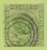 """DEN SC #5  1857 Royal Emblems 3 Margins, """"24"""" (Helsingor) In Conc. Circs., W/crs @ UL, LR, CV $67.50 - 1851-63 (Frederik VII)"""