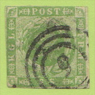 "DEN SC #5  1857 Royal Emblems 2 Margins, ""5""? (Aarhus) In Conc. Circs., CV $67.50 - 1851-63 (Frederik VII)"