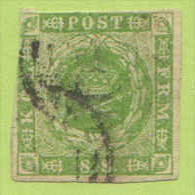 DEN SC #5  1857 Royal Emblems 2+ Margins, W/sm Stn @ B (backside), CV $67.50 - 1851-63 (Frederik VII)