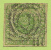 DEN SC #5  1857 Royal Emblems 4 Margins, W/~1.75mm Cut @ TC + 2 Sm Stns @ B (backside), CV $67.50 - 1851-63 (Frederik VII)