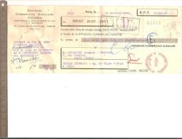 LETTRE DE CHANGE 25 AOUT 1951 DICOMA Sur M. Chennedet EBENISTE Avec  PERFORATION - Lettres De Change