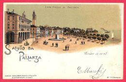 [DC5557] CARTOLINA - RARA - PALLANZA - GRAN PIAZZA DI PALLANZA - Viaggiata 1903 - Old Postcard - Verbania