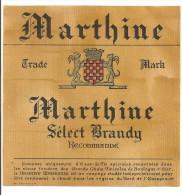 étiquette D´alcool Et De Digestif : Marthine Sélect Brandy. Eau De Vie. Boulogne Sur Mer1950-1960 - Autres