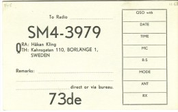 Very Old QSL Card From Häkan Kling, Kahngatan, Borlänge, Sweden (SM4-3979) - Year 1968 - CB