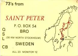 The Saint (Simon Templar) On An Old QSL Card From Stig Persson, Engelbrektsvägen, Jakobsberg, Sweden - Year 1970 - CB