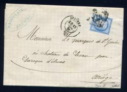 Lettre De Béziers Pour Le Château De Léran Par Larroques D'Olmes 1874 Avec N° 60B - Marcofilie (Brieven)
