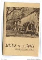 Meounes (VAR)  Dépliant Publicitaire Auberge De La Source - Publicités