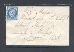 CANTAL15 ALLANCHES  Tad Type 16 Du 15 Septembre 1874 GC 61 Sur N° 60 Env Sans Correspondance  TB Ind 5 - Marcophilie (Lettres)