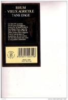 ETIQUETTE   - RHUM  VIEUX  AGRICOLE   -  7 Ans D´Age   - La MAUNY - Rhum