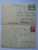 GERMANY POSTCARD 1930`S POSTCARDS X 2 WITH LUFTPOST POSTMARKS  TO ENGLAND - Briefe U. Dokumente