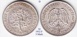 D-1932 F, 5 Mark, Eichbaum - [ 3] 1918-1933 : Weimar Republic