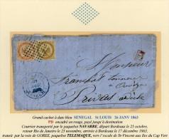 SENEGAL let avec corresp de St LOUIS 25/11/ 1863 pour PRIVAS AIGLE 10 et 40c obl los muet de 64pts bleus et grand c�d