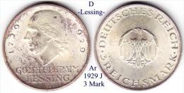 D-1929 J, 3 Mark, Lessing - 3 Mark & 3 Reichsmark