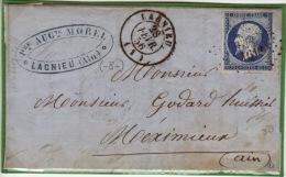 Ain - Lagnieu - Lettre à Meximieux-CAD- Type15-Oblitération Petit Chiffre N°1613 - 1856 - 1849-1876: Klassik