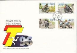 1996 TOURIST TROPHY IRISH WINNERS SPORTS SG 703/6 FDC - Isola Di Man