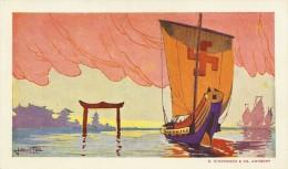 RED STAR LINE (geen vermelding) - Naar Affiche Julien 't Felt - Zeilboot met kruis - Printed  E. Stockmans Antwerp - TOP