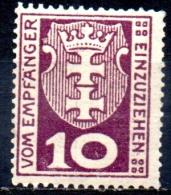 DANZIG 1921 Postage Due -  10pf. - Purple  MH - Danzig