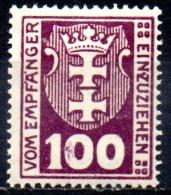 DANZIG 1921 Postage Due -  100pf. - Purple  MH - Danzig