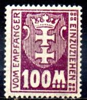 DANZIG 1921 Postage Due -  100m - Purple  MH - Danzig