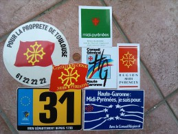 7 Autocollants  Toulouse Lot - Adesivi