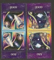 """LETTLAND /LETONIA / LATVIA /LETTONIE- EUROPA 2009 - TEMA """"ASTRONOMIA"""" - 2 SERIES PAR INVERTIDO- DENTADO (PERFORATED) - Europa-CEPT"""