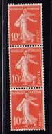 N°138j -Type IA - Bde De 3 Verticale - TB - Coil Stamps