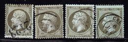 N°19 X 4 Nuances - TB - 1862 Napoléon III