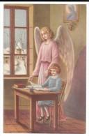 Un Ange Veille Sur Une Enfant Studieuse. Cahier, Encrier, Plume. Paysage Enneigé. - Christianisme