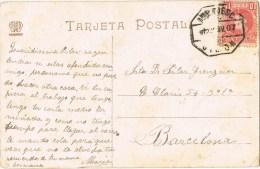 10571. Postal OVIEDO (asturias) 1907. AMBULANTE Ferrocarril - 1889-1931 Royaume: Alphonse XIII