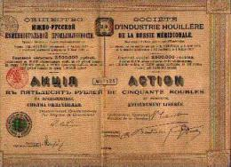 « Soc. D'industrie Houillère De La Russie Méridionale » - Action De 50 Roubles (1908) - Russie